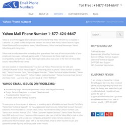 Yahoo Phone Number 1-877-424-6647 Toll Free