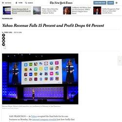 Yahoo Revenue Falls 15 Percent and Profit Drops 64 Percent
