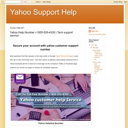 Yahoo Support Help: Yahoo Help Number +1855-526-4335