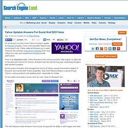 Yahoo Updates Answers For Social And SEO Value