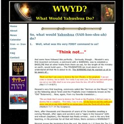 WWYD? What Would Yahushua Do?