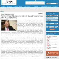 Yannick Bézard évoque les ressorts du redressement de PSA Peugeot Citroën