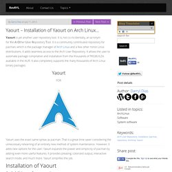 Yaourt - Installation of Yaourt on Arch Linux... - RevRYL