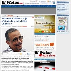 Yasmina Khadra : « je n'ai pas le droit d'être Charlie »