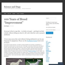 """100 Years of Breed """"Improvement"""""""