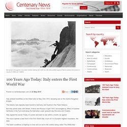 100 Years Ago Today: Italy enters the First World War