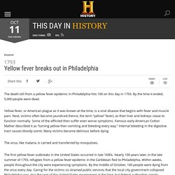 Yellow fever breaks out in Philadelphia - Oct 11, 1793