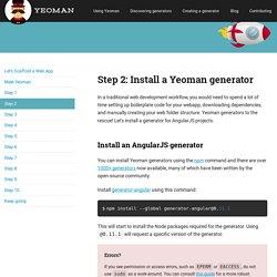 Yeoman - Modern workflows for modern webapps