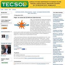 Yingli : Un contrat de 220 MW avec Solarstrom AG - tecsol