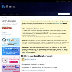 SEO by yoast (problem keywords) - Be