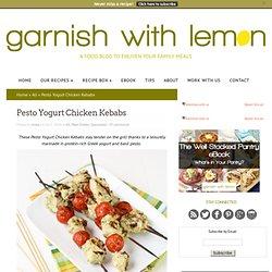 Pesto Yogurt Chicken Kebabs - Garnish with Lemon