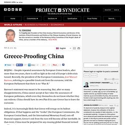 """Greece-Proofing China"" by Yu Yongding"