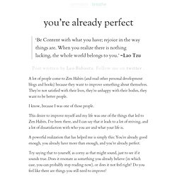 » you're already perfect
