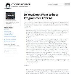 So You Don't Want to be a Programmer After All