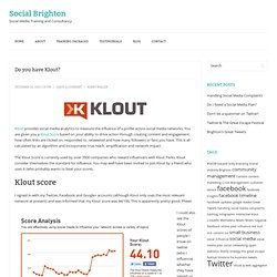 Do you have Klout? | Social Brighton