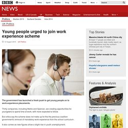 Young people urged to join work experience scheme - BBC News