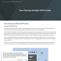 Your Choosing the Right VPN Provider