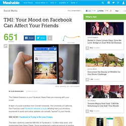 TMI: Your Mood on Facebook Can Affect Your Friends