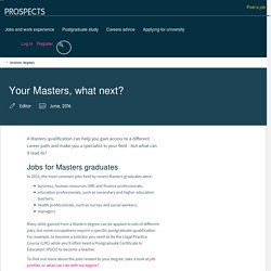 Your Masters, what next?