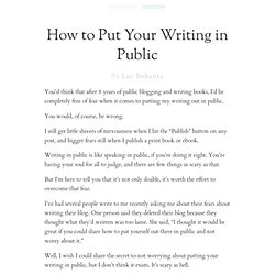 How to Put Your Writing in Public