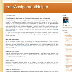 YourAssignmentHelper: Why Students are opting for Biology Dissertation Help in Australia ?
