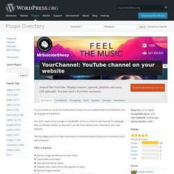 YourChannel: YouTube channel on your website — WordPress Plugins