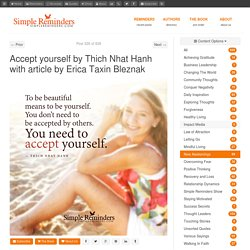 Accept yourself by Thich Nhat Hanh with article by Erica Taxin Bleznak