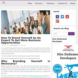 WebTecz.com BlogHow To Brand Yourself As Expert To Get More Business Opportunities.