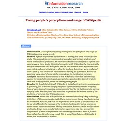 Youth Perception and Usage of Wikipedia