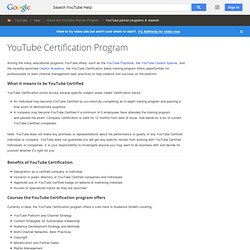 YouTube Certification Program - YouTube Help