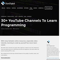 30+ YouTube Channels To Learn Programming - Eton Digital