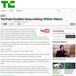 YouTube Enables Deep Linking Within Videos