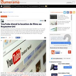 YouTube étend la location de films au Royaume-Uni