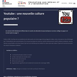 Youtube : une nouvelle culture populaire ?