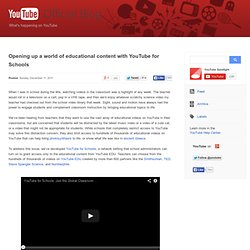 Opening up a world of educational content with YouTube for Schools