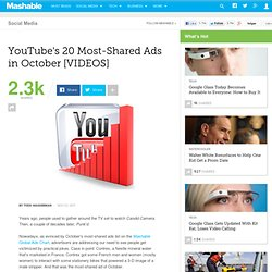 YouTube's 20 Most-Shared Ads in October [VIDEOS]