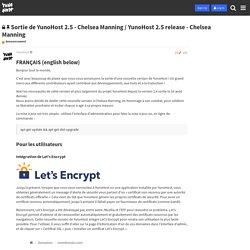 Sortie de YunoHost 2.5 - Chelsea Manning / YunoHost 2.5 release - Chelsea Manning - Announcement - YunoHost Forum