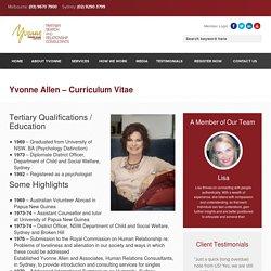 Yvonne Allen – Curriculum Vitae