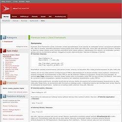 Zaczynamy / Pierwsze kroki z Zend Framework / Framework / Artykuły / Wortal / Home - php.pl