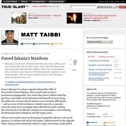 Matt Taibbi - Taibblog - Fareed Zakaria's Manifesto