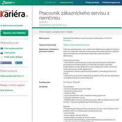 Pracovník zákazníckeho servisu s nemčinou - Bratislava
