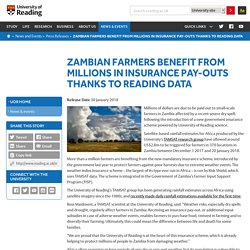 Zambian farmers benefit from millions in insurance pay-outs thanks to Reading data
