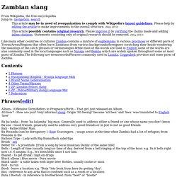 Zambian slang