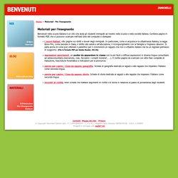 Benvenuti Zanichelli - Materiali per l'insegnante - Italiano per studenti stranieri e immigrati