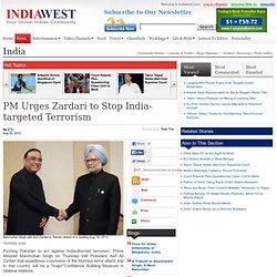 PM Urges Zardari to Stop India-targeted Terrorism