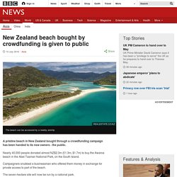New Zealand beach bought by crowdfunding is given to public