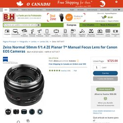 Zeiss Normal 50mm f/1.4 ZE Planar T* Manual Focus Lens 1677-817