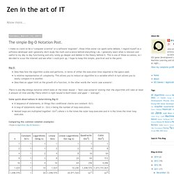 Zen in the art of IT: The simple Big-O Notation Post.