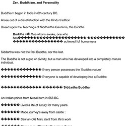 Zen, Buddhism, and Personality