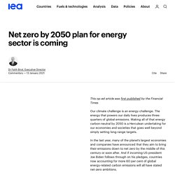 Net zero by 2050 plan for energy sector is coming